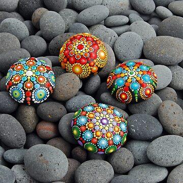 Multicolor Mandala stones by mandalaole