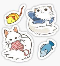 White Fluffy Cats Sticker