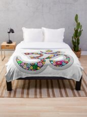 Namaste Floral Yoga Symbol  Throw Blanket