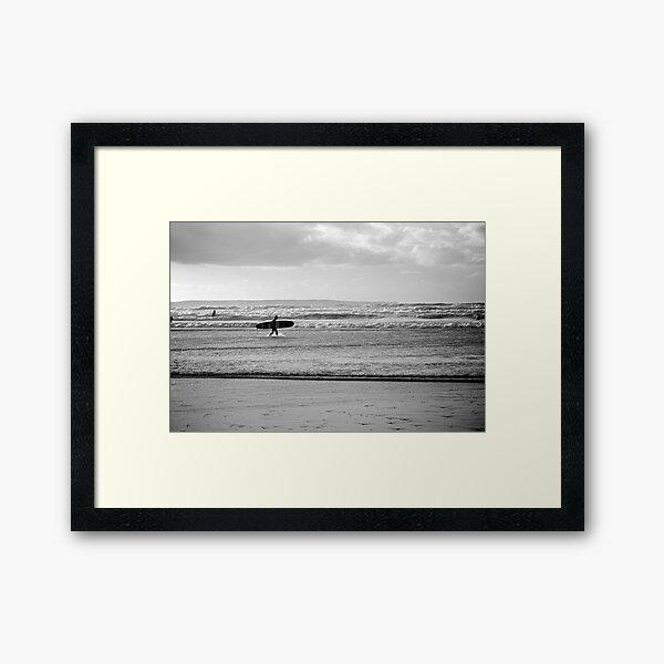 Black and white Ocean Surfer Framed Art Print