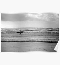 Black and white Surfer Poster