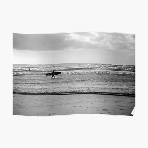 Black and white Ocean Surfer Poster