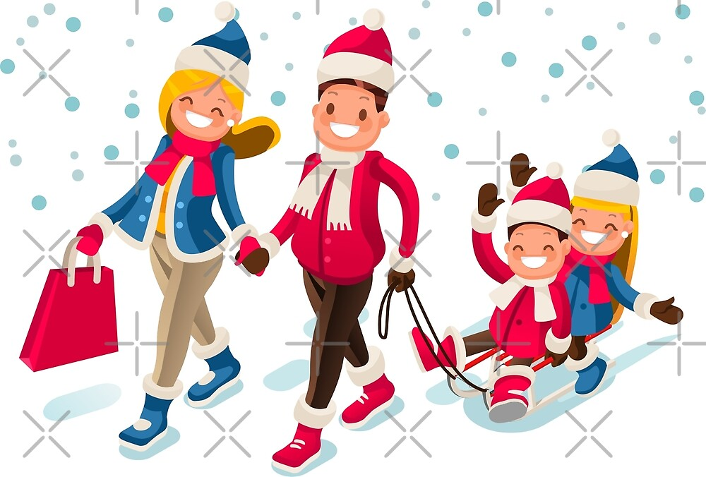 Happy Family in Winter Holidays Isometric People by aurielaki