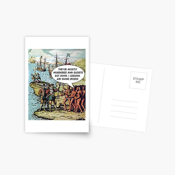 Columbus Arrives in the Americas - Anti Trump Postcard