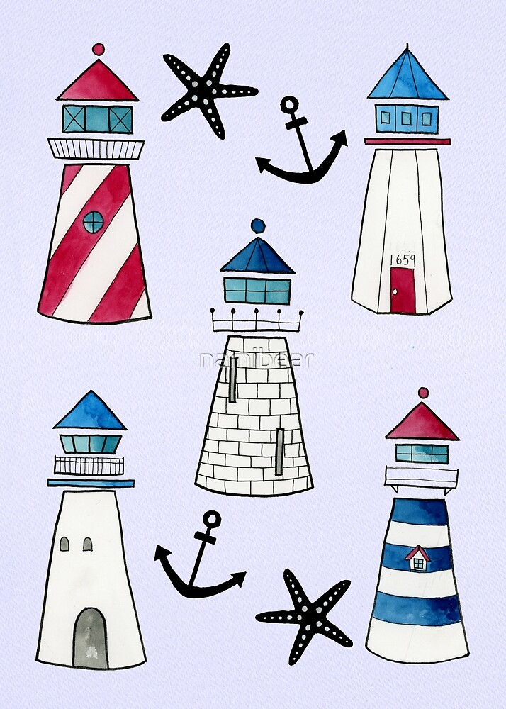 Watercolor Lighthouses by namibear