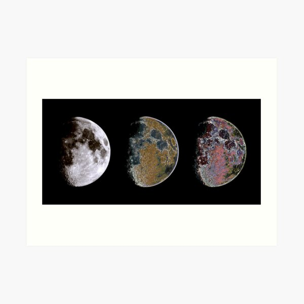 3 Phases of The Moon Art Print