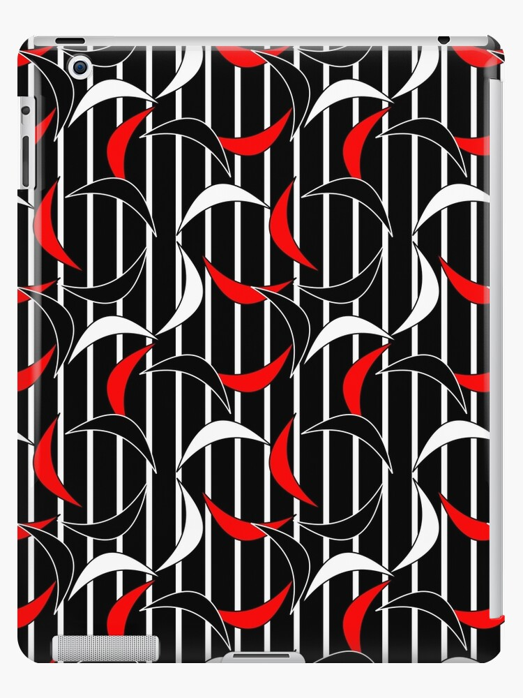 Black and White Stripes with Red Black and White Floating Crescents by Elaine Plesser