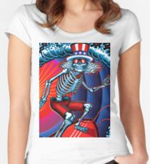 dead head surfer art Women's Fitted Scoop T-Shirt