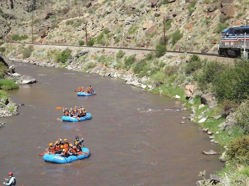 Kayakers, Train, Arkansas River, Colorado by lenspiro