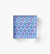 Pastel Flower Design, Repeated Pattern Acrylic Block
