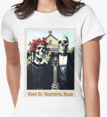 Grateful dead art poster skeletons painting Women's Fitted T-Shirt