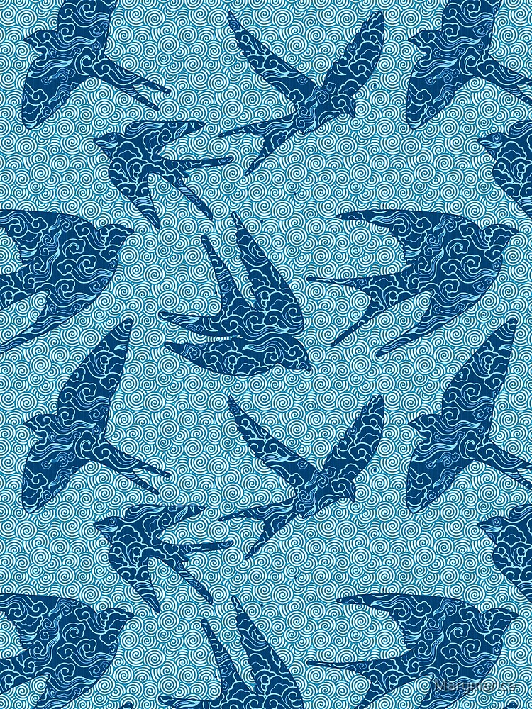 Swallows in Flight Textile, Cobalt Blue and Aqua by Marymarice