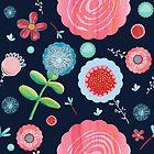 Contemporary Flowers  - blue by Belinda Lindhardt