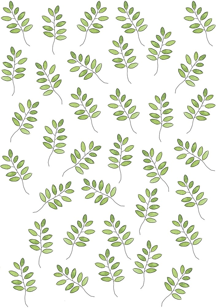 Watercolour Leaf Pattern by emily  gaskin