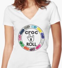 Croc N Roll Women's Fitted V-Neck T-Shirt