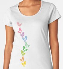 Balancing Retro Rainbow Chicks Women's Premium T-Shirt