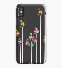Colorful Whimsical Tweet Birds On White Branches iPhone Case/Skin