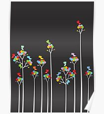 Colorful Whimsical Tweet Birds On White Branches Poster