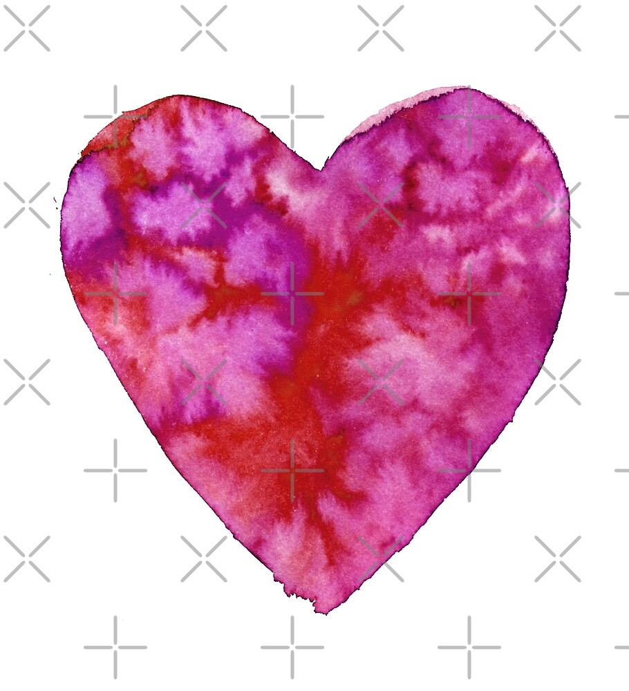 Watercolour hearts pattern by natakuprova
