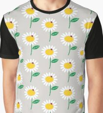 Whimsical Summer White Daisy and Red Ladybug Graphic T-Shirt