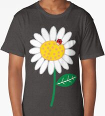 Whimsical Summer White Daisy and Red Ladybug Long T-Shirt