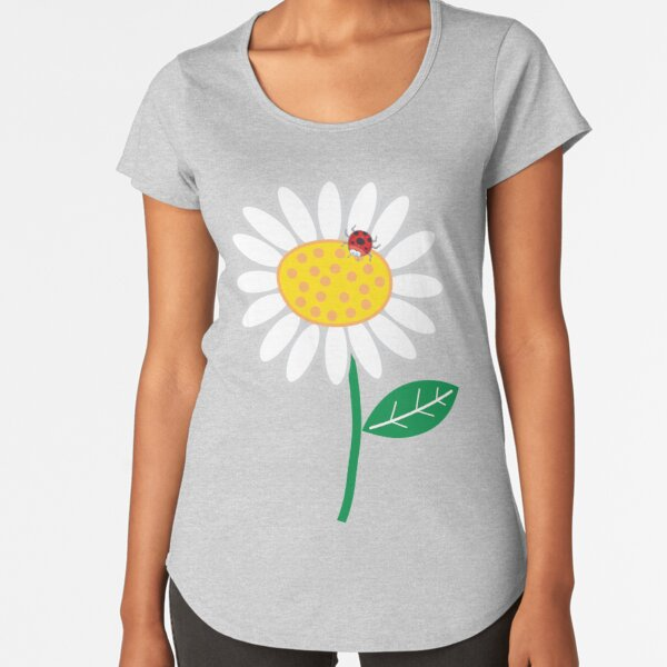 Whimsical Summer White Daisy and Red Ladybug Premium Scoop T-Shirt