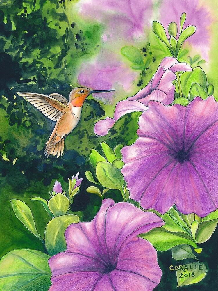Hummingbird and Purple Petunias by Fairyworks
