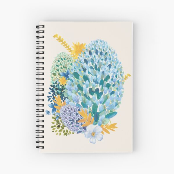 Contemporary Floral - Blue Spiral Notebook