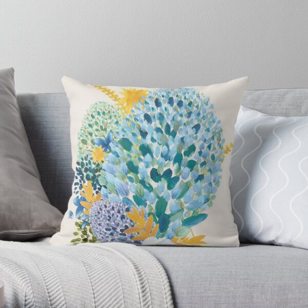 Contemporary Floral - Blue Throw Pillow