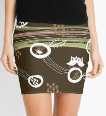 Retro Owls Happy Family Mini Skirt
