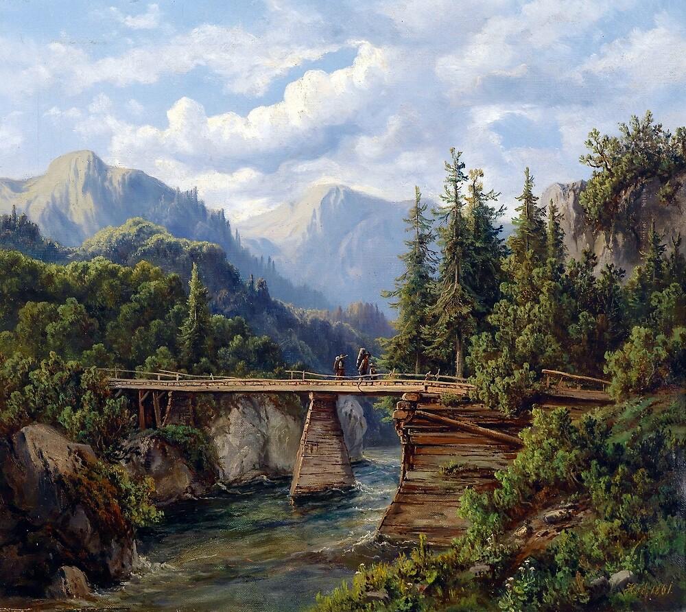 Edmund Höd Wooden Bridge over a Mountain Stream by pdgraphics