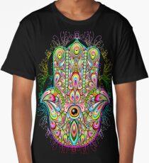 Hamsa Fatma Hand Psychedelic Amulet  Long T-Shirt