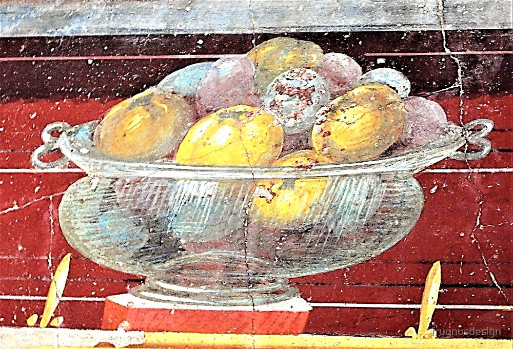 "Roman fresco ""fruit in a glass bowl"" by frugnusdesign"