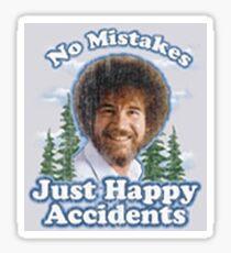 """Bob Ross """"Happy little mistakes"""" Sticker  Sticker"""