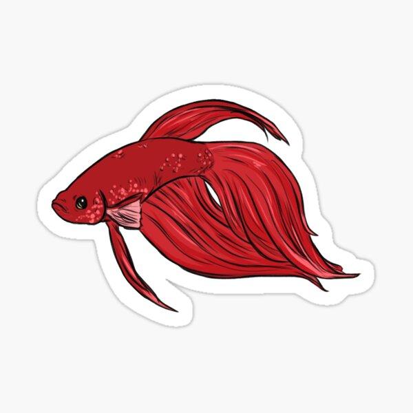 Betta Red Veiltail Sticker