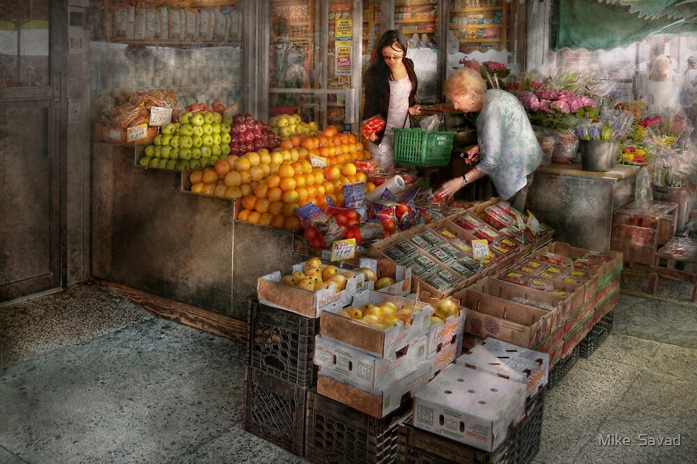 Storefront - Hoboken, NJ - Picking out fresh fruit by Michael Savad