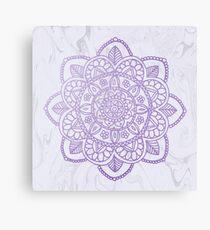Lavender Mandala on White Marble Canvas Print