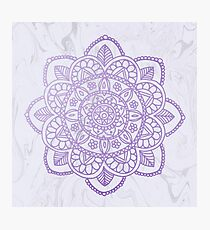Lavender Mandala on White Marble Photographic Print