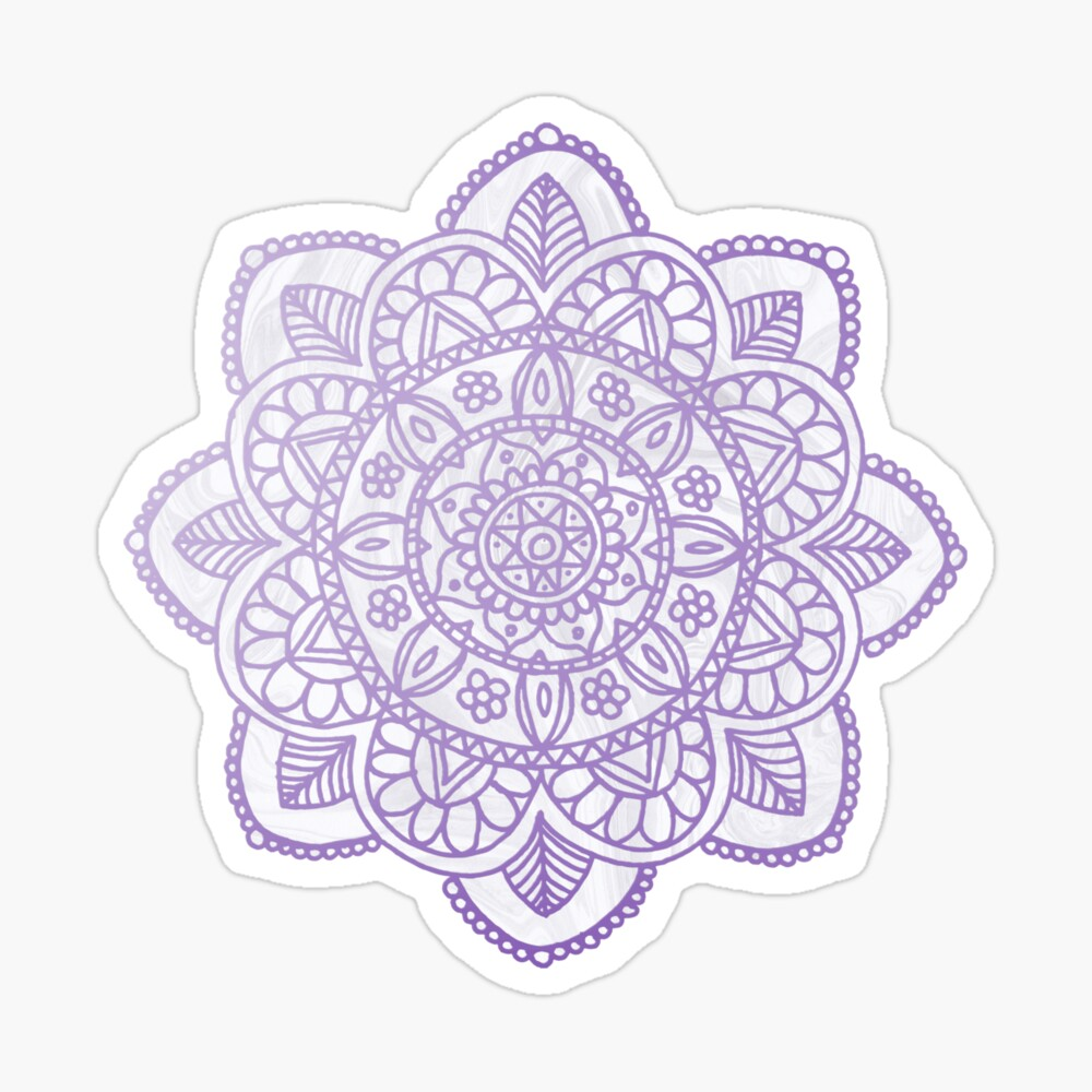 Lavender Mandala on White Marble Sticker