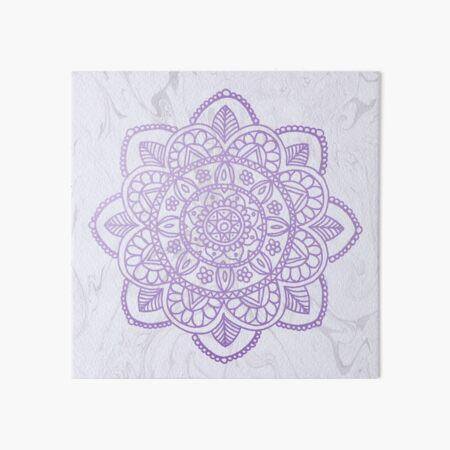 Lavender Mandala on White Marble Art Board Print