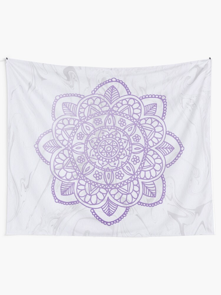 Quot Lavender Mandala On White Marble Quot Wall Tapestry By