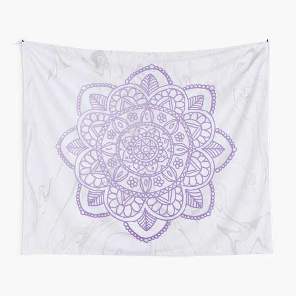 Lavender Mandala on White Marble Tapestry