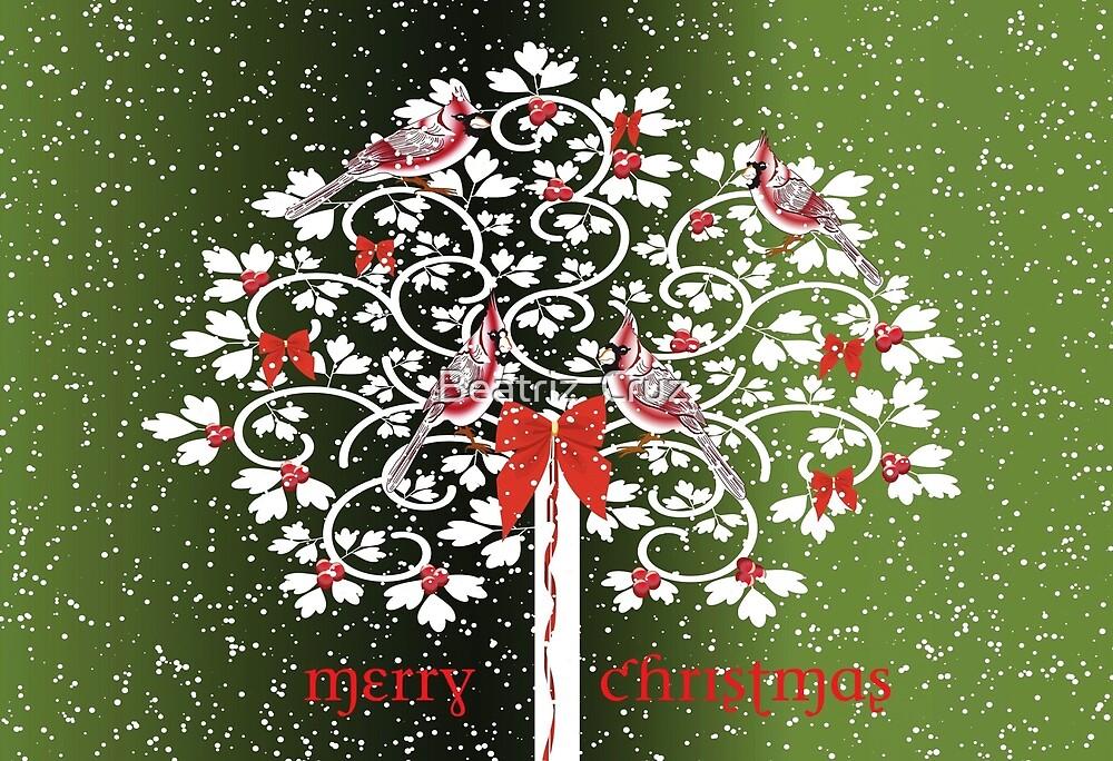 Christmas Cardinals by Beatriz  Cruz