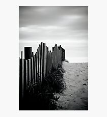 Black & White fence beach Photographic Print