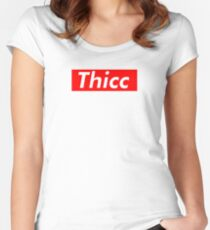 THICC (Supreme Parody - Original) Fitted Scoop T-Shirt