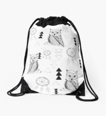 Hiboux et capteurs de rêves, Stefy artiste Drawstring Bag
