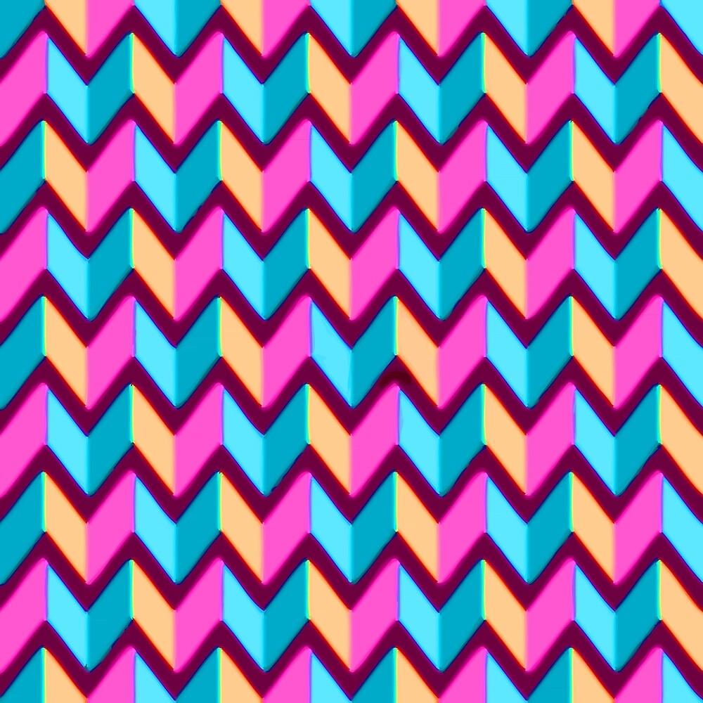 Pink Blue Gold Chevron Pattern by Vicky Brago-Mitchell