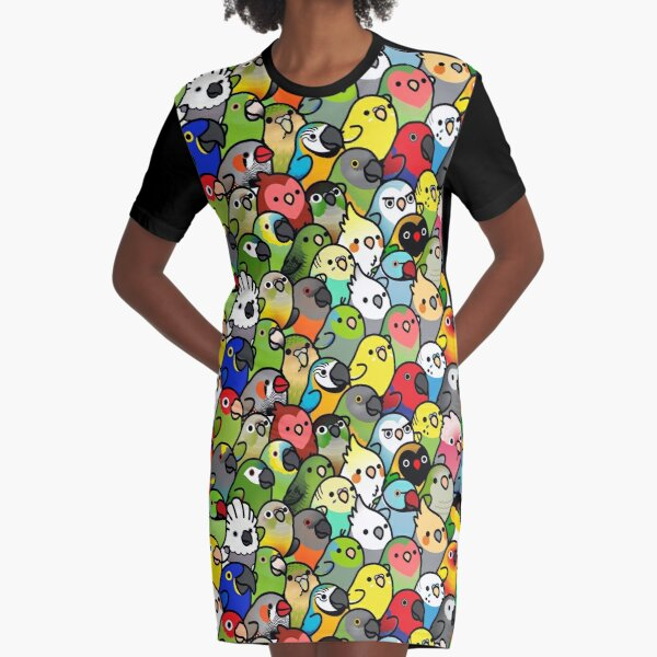 Everybirdy Pattern Graphic T-Shirt Dress