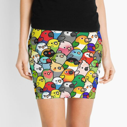Everybirdy Pattern Mini Skirt