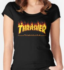 Thrasher Magazine - Awesome Flaming Skater Design Women's Fitted Scoop T-Shirt